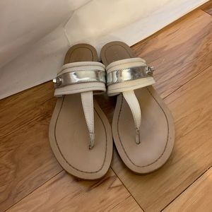 Coach Eileen sandals in silver and white, 9.5